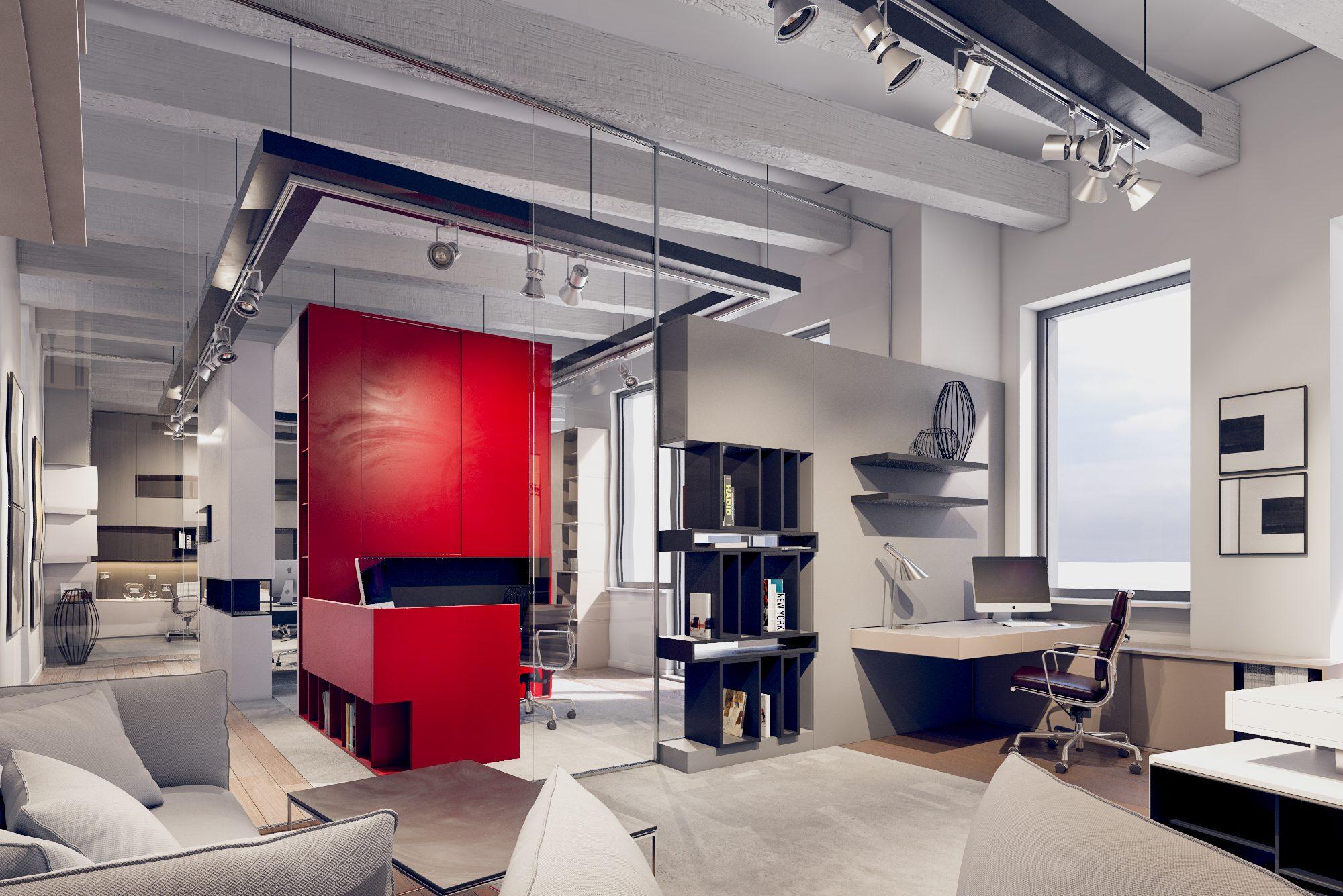 Dizajn interiéru kancelárie komerčné priestory office