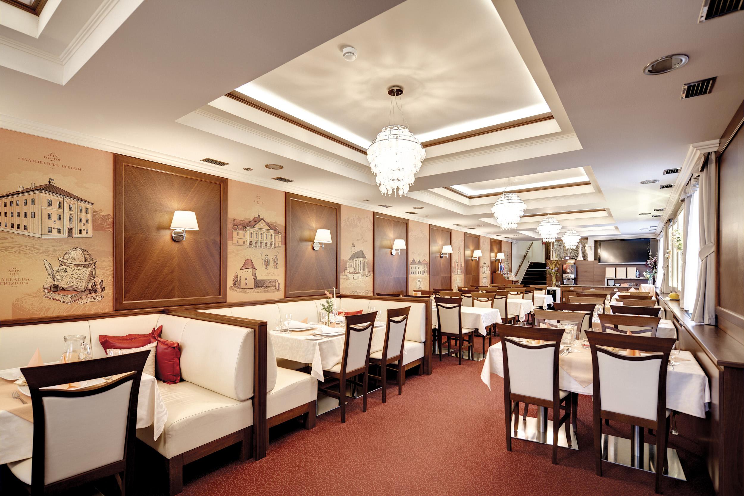 Interiérový dizajn reštaurácia Hotel Hviezdoslav Kežmarok