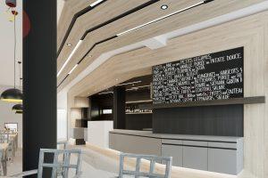 Moderný dizajn reštaurácie a baru