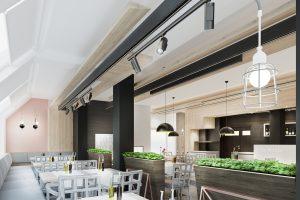Moderný dizajn reštaurácie a hotela